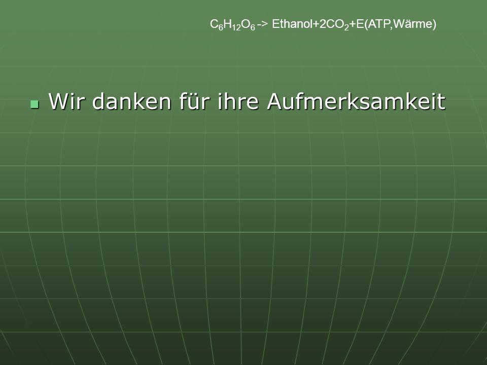 C 6 H 12 O 6 -> Ethanol+2CO 2 +E(ATP,Wärme) Wir danken für ihre Aufmerksamkeit Wir danken für ihre Aufmerksamkeit