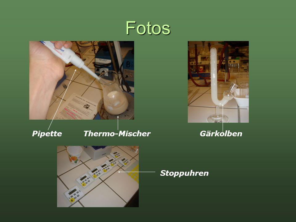 Fotos PipetteGärkolben Stoppuhren Thermo-Mischer
