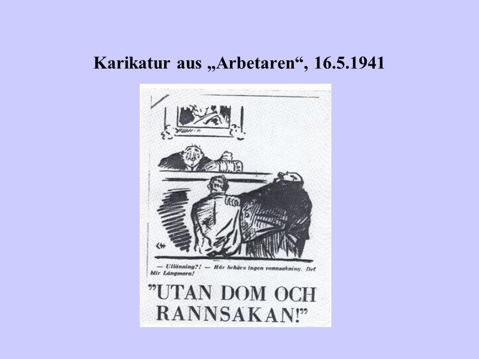 Karikatur aus Arbetaren, 16.5.1941