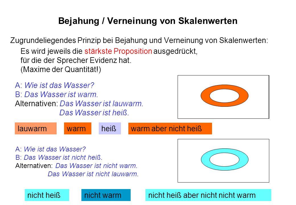 Bejahung / Verneinung von Skalenwerten Zugrundeliegendes Prinzip bei Bejahung und Verneinung von Skalenwerten: Es wird jeweils die stärkste Propositio
