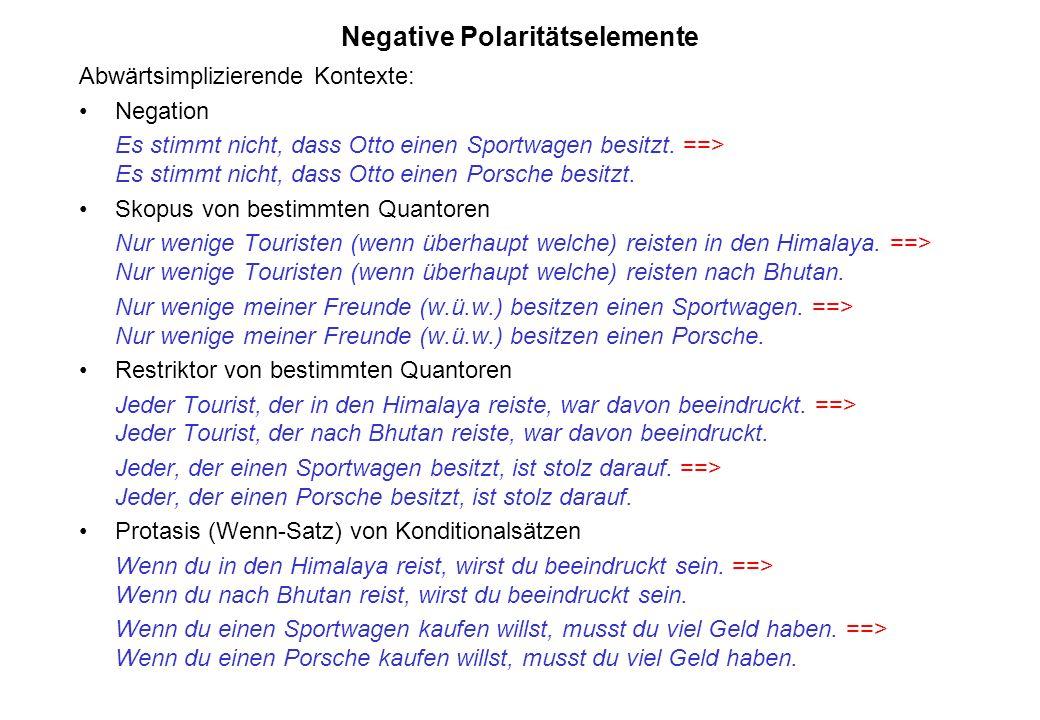 Negative Polaritätselemente Abwärtsimplizierende Kontexte: Negation Es stimmt nicht, dass Otto einen Sportwagen besitzt. ==> Es stimmt nicht, dass Ott