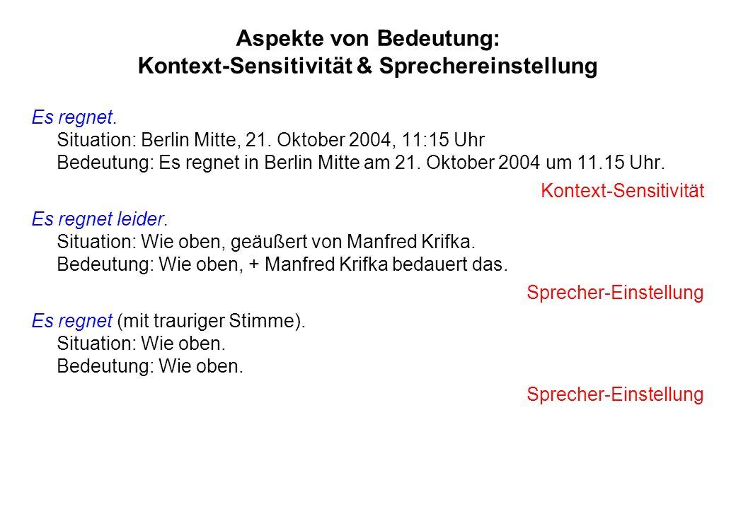 Aspekte von Bedeutung: Kontext-Sensitivität & Sprechereinstellung Es regnet. Situation: Berlin Mitte, 21. Oktober 2004, 11:15 Uhr Bedeutung: Es regnet