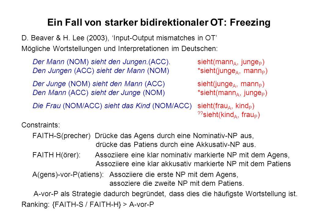 Ein Fall von starker bidirektionaler OT: Freezing D. Beaver & H. Lee (2003), Input-Output mismatches in OT Mögliche Wortstellungen und Interpretatione