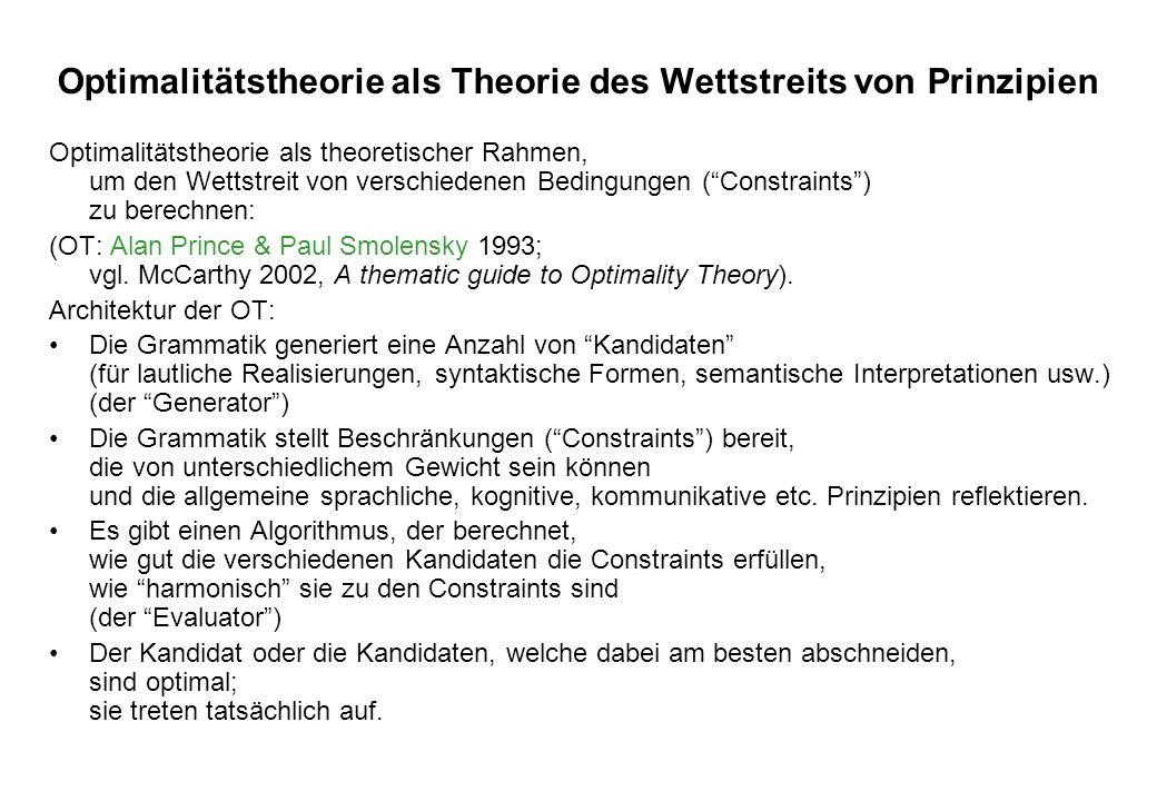 Optimalitätstheorie als Theorie des Wettstreits von Prinzipien Optimalitätstheorie als theoretischer Rahmen, um den Wettstreit von verschiedenen Bedin