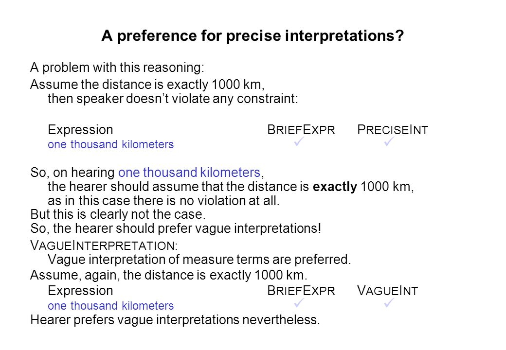 A preference for precise interpretations? A problem with this reasoning: Assume the distance is exactly 1000 km, then speaker doesnt violate any const