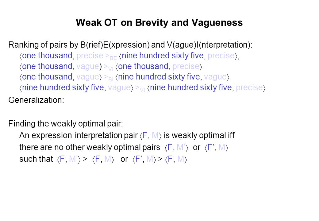 Weak OT on Brevity and Vagueness Ranking of pairs by B(rief)E(xpression) and V(ague)I(nterpretation): one thousand, precise > BE nine hundred sixty fi