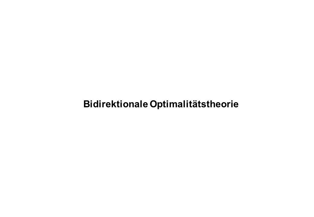 Bidirektionale OT und Ökonomie Reinhard Blutner (2000): Some aspects of optimality in natural language interpretaiton, Journal of Semantics 17 Gerhard Jäger (2002): Some notes on the formal properties of bidirectional optimality theory, JoLLI 11 Blutner & Zeevat (eds.) (2003): Optimality theory and pragmatics.