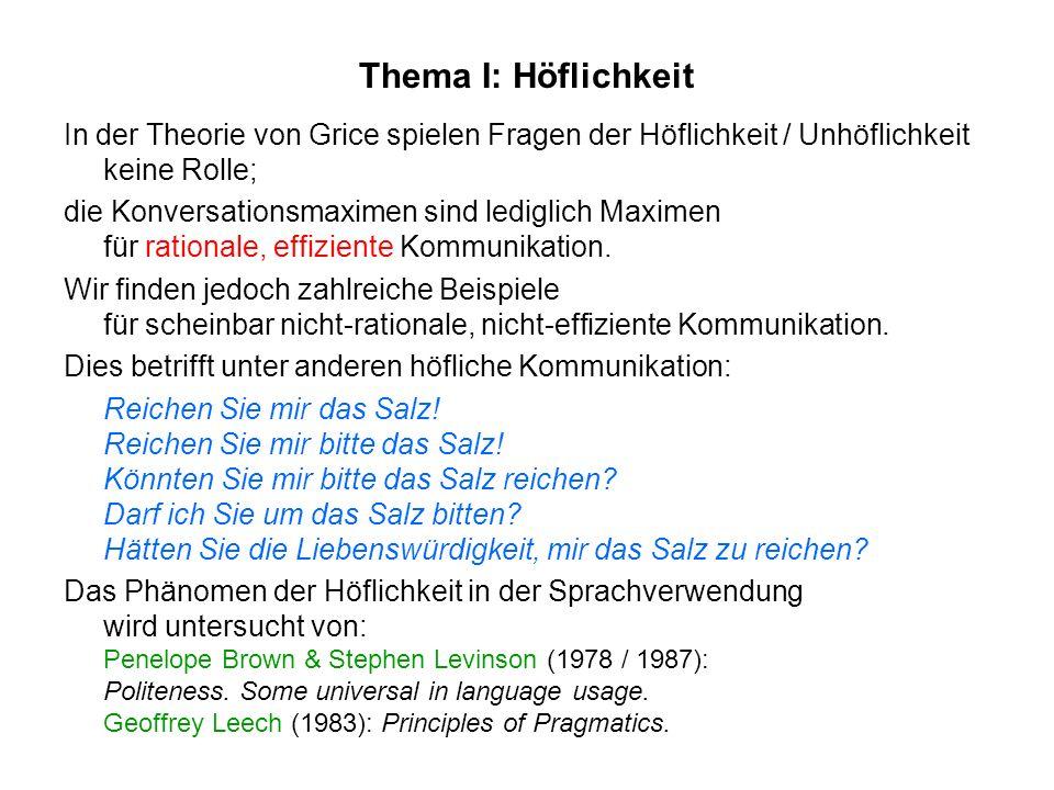 Thema I: Höflichkeit In der Theorie von Grice spielen Fragen der Höflichkeit / Unhöflichkeit keine Rolle; die Konversationsmaximen sind lediglich Maxi