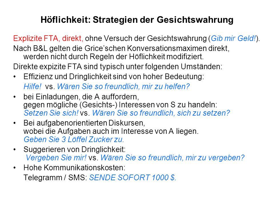 Höflichkeit: Strategien der Gesichtswahrung Explizite FTA, direkt, ohne Versuch der Gesichtswahrung (Gib mir Geld!). Nach B&L gelten die Griceschen Ko