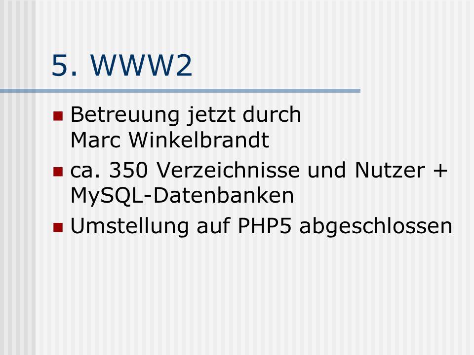 5. WWW2 Betreuung jetzt durch Marc Winkelbrandt ca.