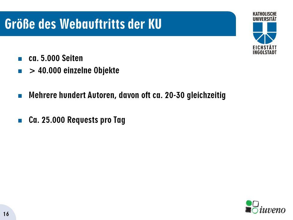 16 Größe des Webauftritts der KU ca.