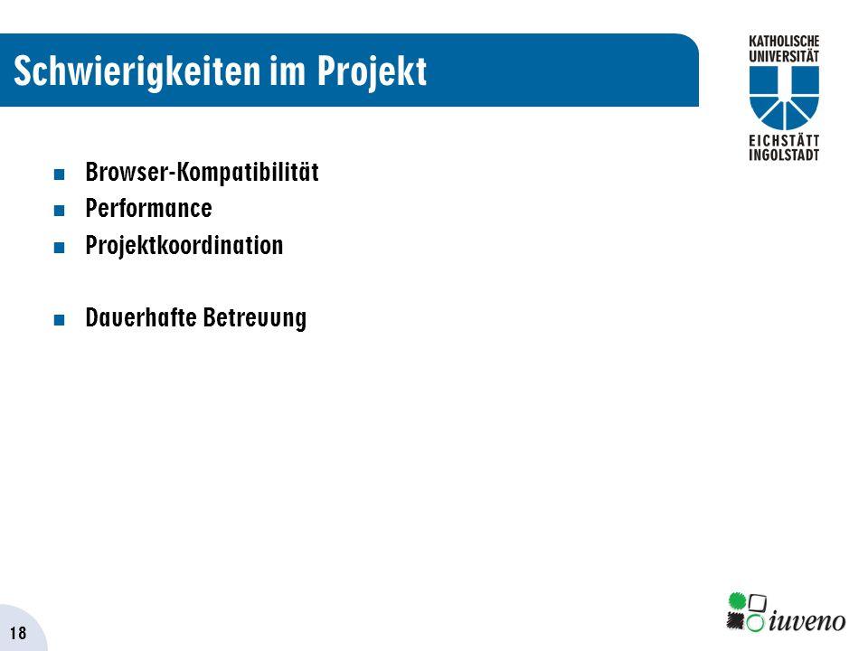 18 Schwierigkeiten im Projekt Browser-Kompatibilität Performance Projektkoordination Dauerhafte Betreuung