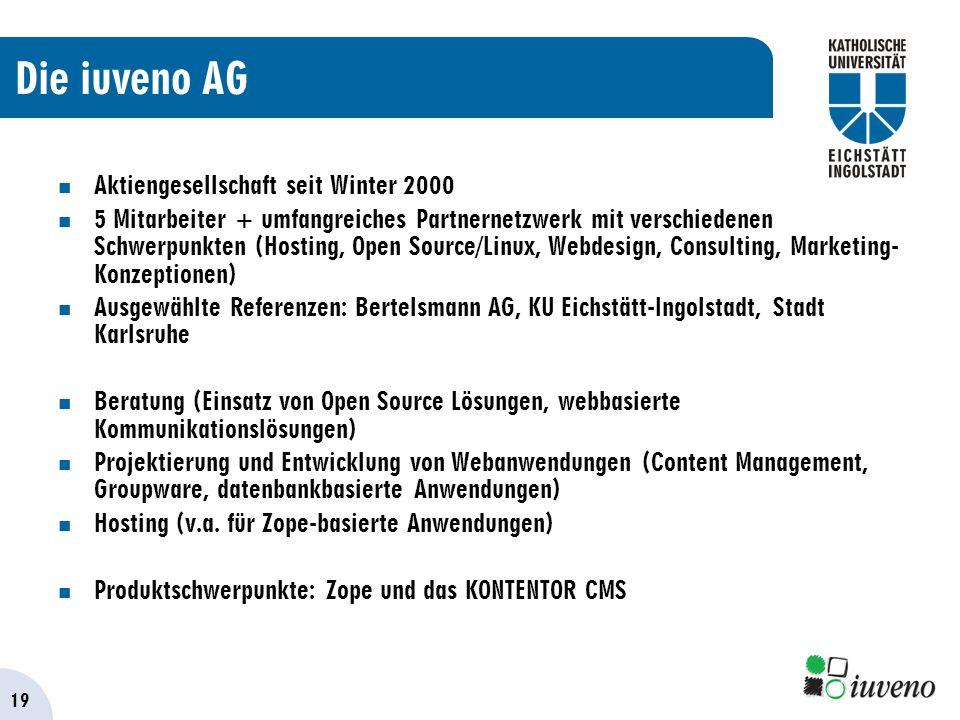 19 Die iuveno AG Aktiengesellschaft seit Winter 2000 5 Mitarbeiter + umfangreiches Partnernetzwerk mit verschiedenen Schwerpunkten (Hosting, Open Source/Linux, Webdesign, Consulting, Marketing- Konzeptionen) Ausgewählte Referenzen: Bertelsmann AG, KU Eichstätt-Ingolstadt, Stadt Karlsruhe Beratung (Einsatz von Open Source Lösungen, webbasierte Kommunikationslösungen) Projektierung und Entwicklung von Webanwendungen (Content Management, Groupware, datenbankbasierte Anwendungen) Hosting (v.a.