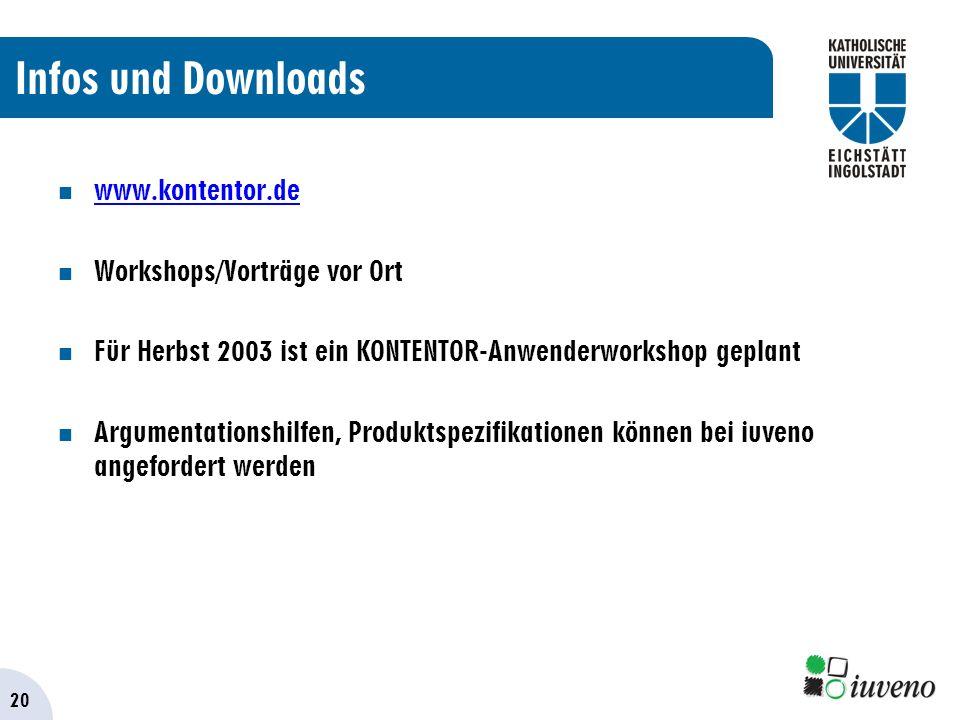 20 Infos und Downloads www.kontentor.de Workshops/Vorträge vor Ort Für Herbst 2003 ist ein KONTENTOR-Anwenderworkshop geplant Argumentationshilfen, Produktspezifikationen können bei iuveno angefordert werden