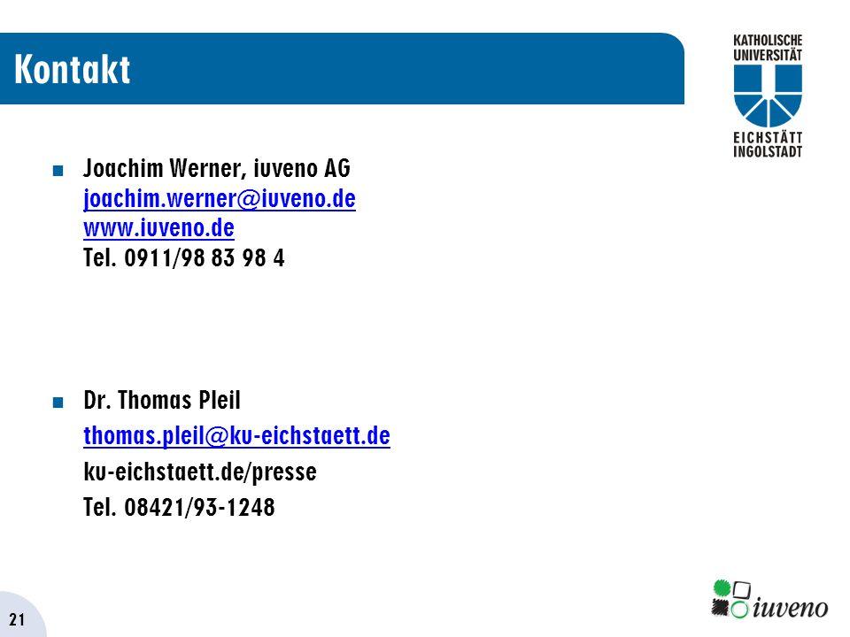 21 Kontakt Joachim Werner, iuveno AG joachim.werner@iuveno.de www.iuveno.de Tel.