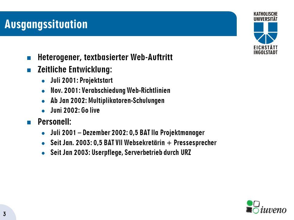 3 Ausgangssituation Heterogener, textbasierter Web-Auftritt Zeitliche Entwicklung: Juli 2001: Projektstart Nov.