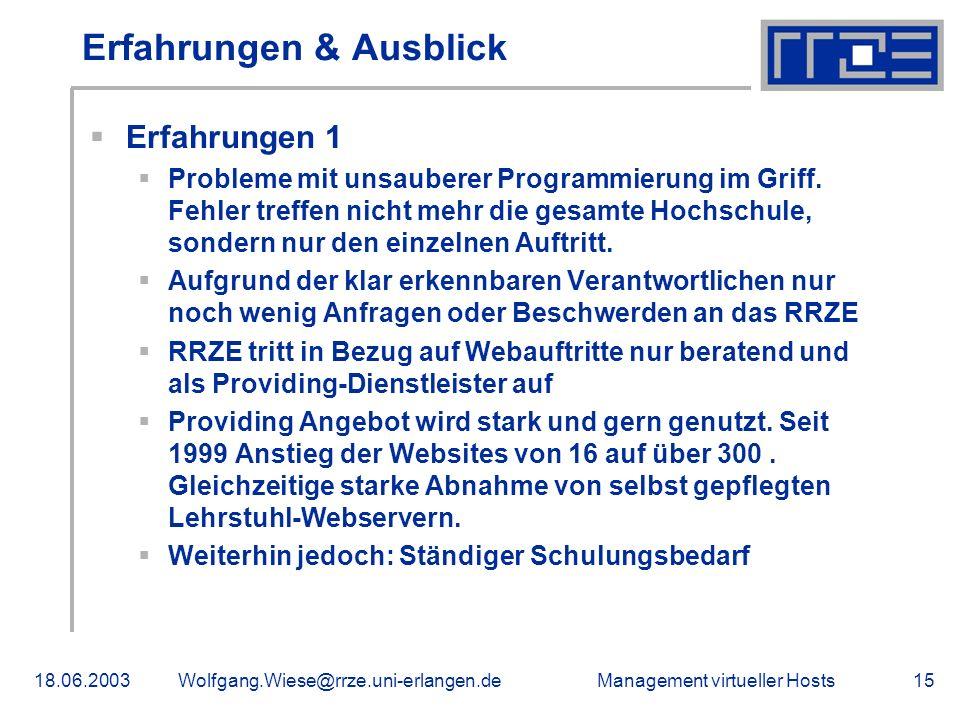 Management virtueller Hosts18.06.2003Wolfgang.Wiese@rrze.uni-erlangen.de15 Erfahrungen & Ausblick Erfahrungen 1 Probleme mit unsauberer Programmierung im Griff.