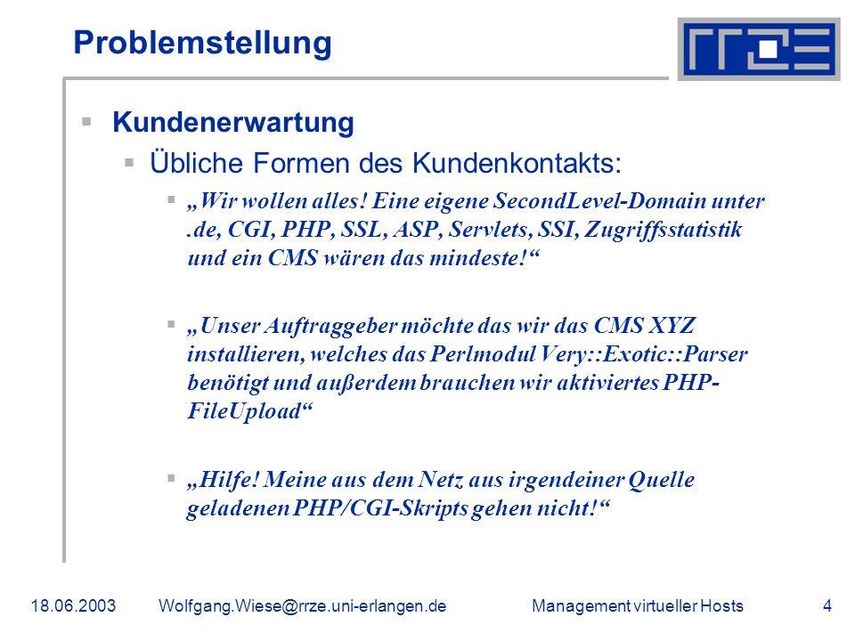 Management virtueller Hosts18.06.2003Wolfgang.Wiese@rrze.uni-erlangen.de4 Problemstellung Kundenerwartung Übliche Formen des Kundenkontakts: Wir wollen alles.