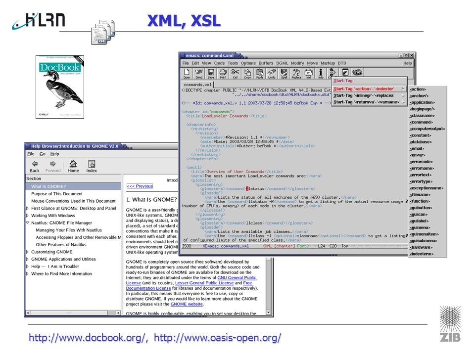 http://www.xslt.com/ XSLT-Prozessor XML Source XSL Stylesheets XSLT- Prozessor xsltproc HTML Files HTML File XMLFO XSLT- Prozessor (Xalan) PDF
