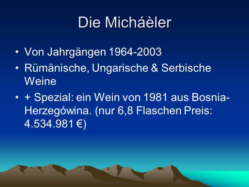 Preise eines Micháèlers Eine Flasche Micháèler kostet zwischen 40-70.