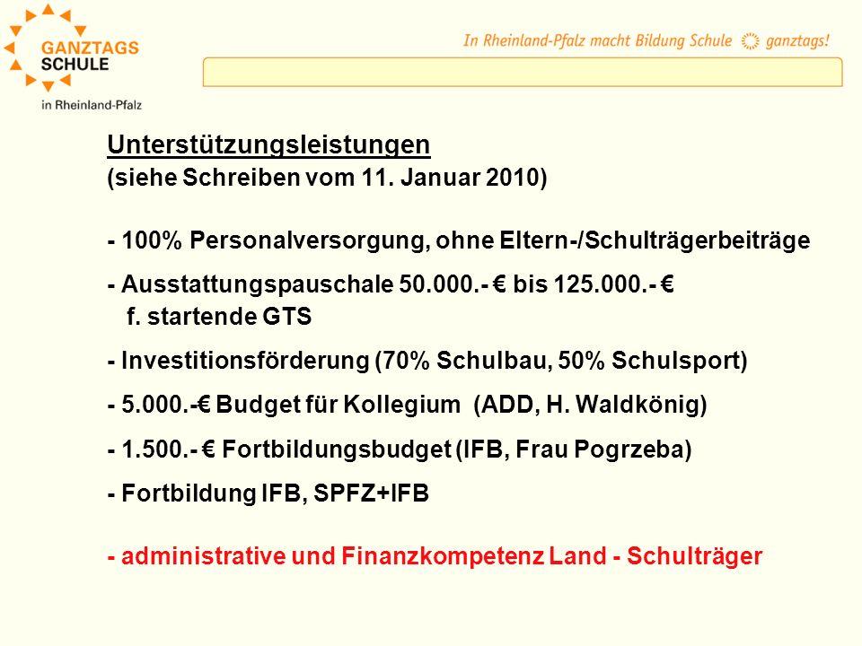 Unterstützungsleistungen (siehe Schreiben vom 11. Januar 2010) - 100% Personalversorgung, ohne Eltern-/Schulträgerbeiträge - Ausstattungspauschale 50.