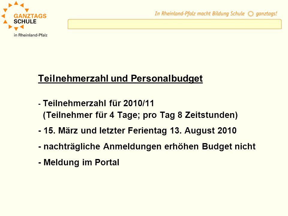 Teilnehmerzahl und Personalbudget - Teilnehmerzahl für 2010/11 (Teilnehmer für 4 Tage; pro Tag 8 Zeitstunden) - 15. März und letzter Ferientag 13. Aug