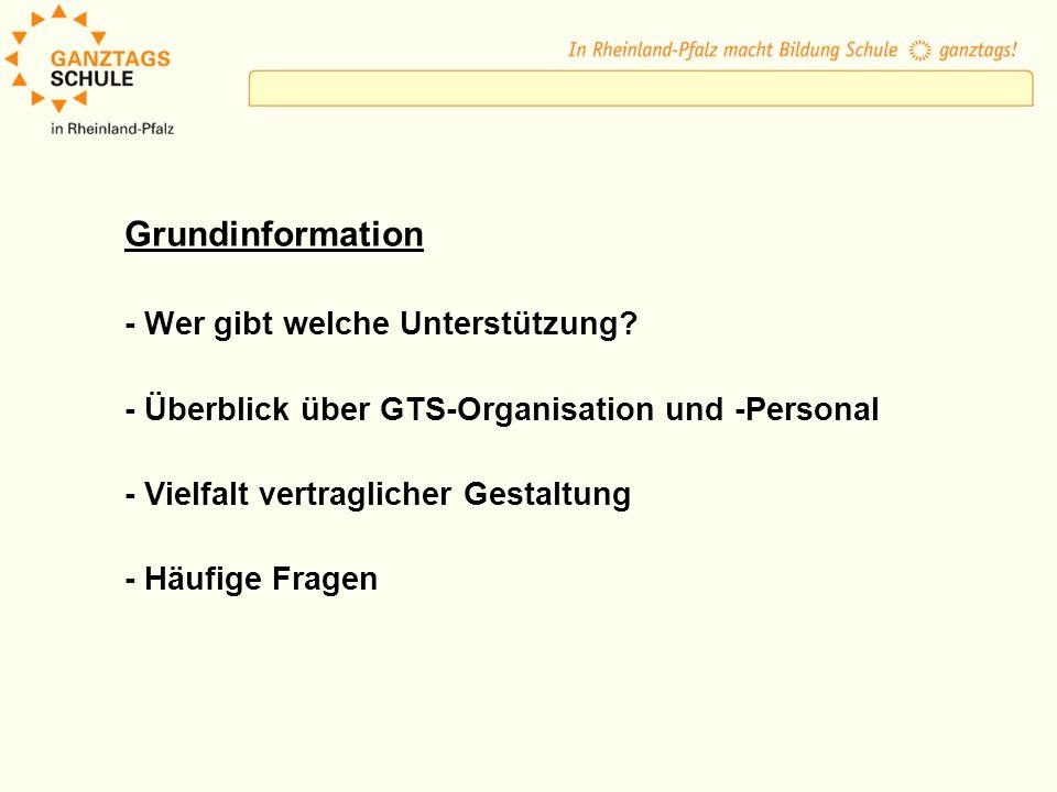 Grundinformation - Wer gibt welche Unterstützung? - Überblick über GTS-Organisation und -Personal - Vielfalt vertraglicher Gestaltung - Häufige Fragen