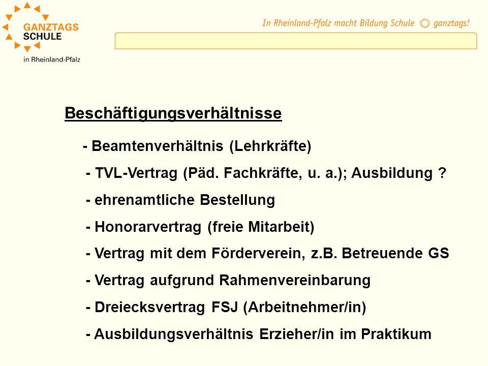 Beschäftigungsverhältnisse - Beamtenverhältnis (Lehrkräfte) - TVL-Vertrag (Päd. Fachkräfte, u. a.); Ausbildung ? - ehrenamtliche Bestellung - Honorarv