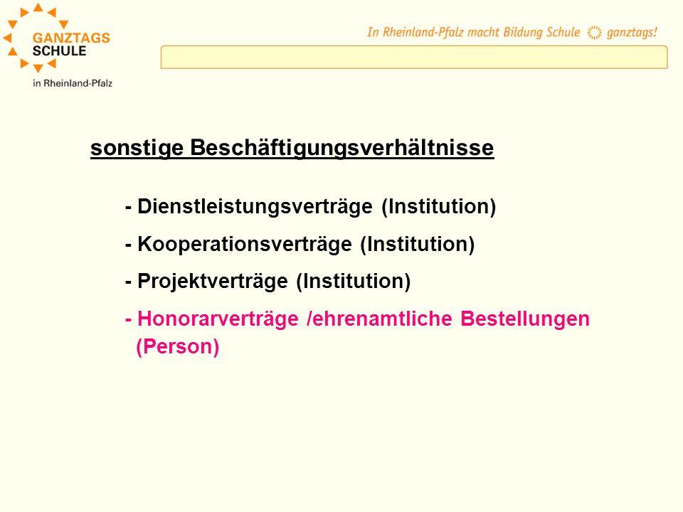 sonstige Beschäftigungsverhältnisse - Dienstleistungsverträge (Institution) - Kooperationsverträge (Institution) - Projektverträge (Institution) - Hon