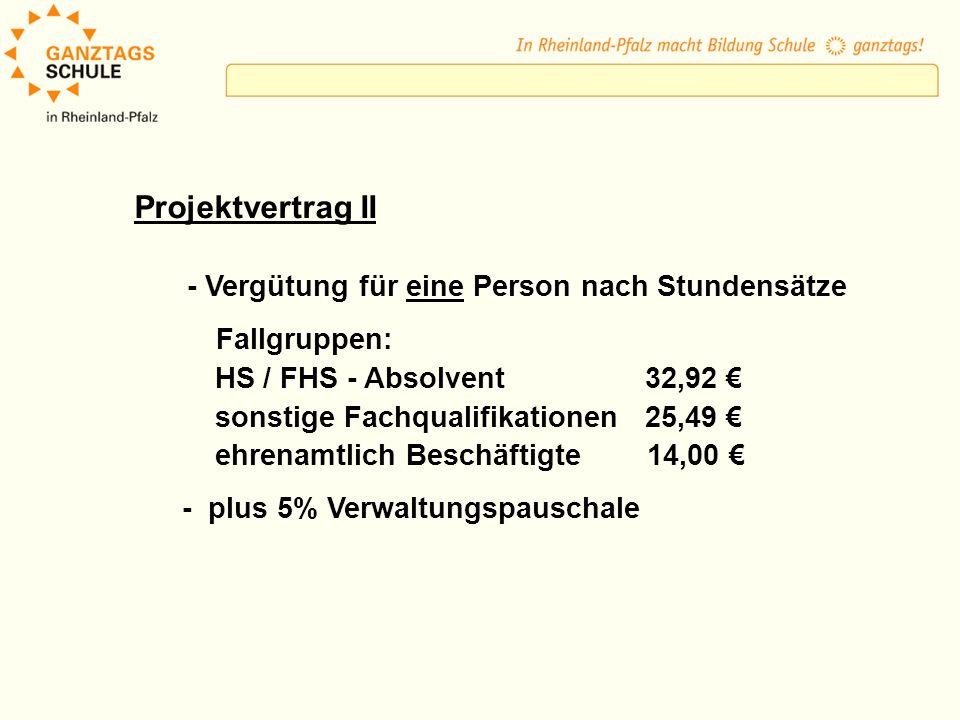 Projektvertrag II - Vergütung für eine Person nach Stundensätze Fallgruppen: HS / FHS - Absolvent 32,92 sonstige Fachqualifikationen 25,49 ehrenamtlich Beschäftigte 14,00 - plus 5% Verwaltungspauschale