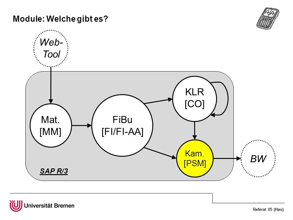Referat 05 (Hau) Module: Welche gibt es? FiBu [FI/FI-AA] KLR [CO] Kam. [PSM] Mat. [MM] BW Web- Tool SAP R/3