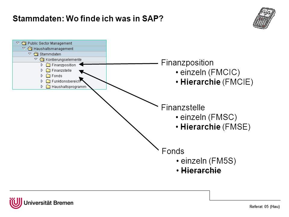 Referat 05 (Hau) Stammdaten: Wo finde ich was in SAP? Finanzposition einzeln (FMCIC) Hierarchie (FMCIE) Finanzstelle einzeln (FMSC) Hierarchie (FMSE)