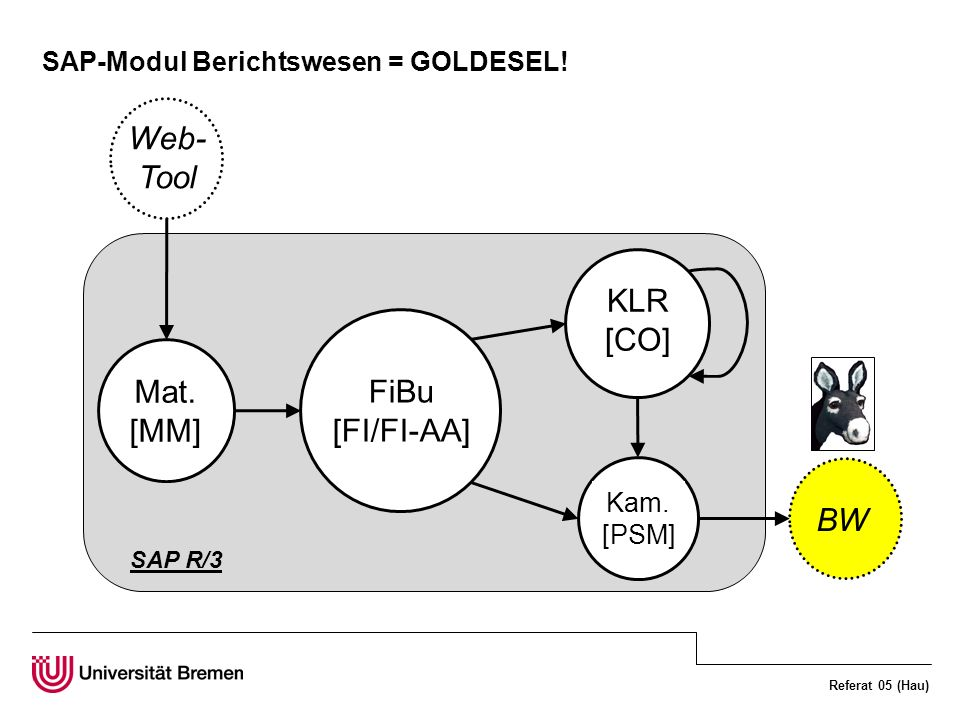Referat 05 (Hau) SAP-Modul Berichtswesen = GOLDESEL! FiBu [FI/FI-AA] KLR [CO] Kam. [PSM] Mat. [MM] BW Web- Tool SAP R/3