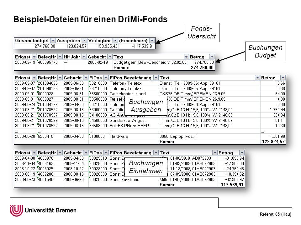 Referat 05 (Hau) Beispiel-Dateien für einen DriMi-Fonds Fonds- Übersicht Buchungen Budget Buchungen Ausgaben Buchungen Einnahmen
