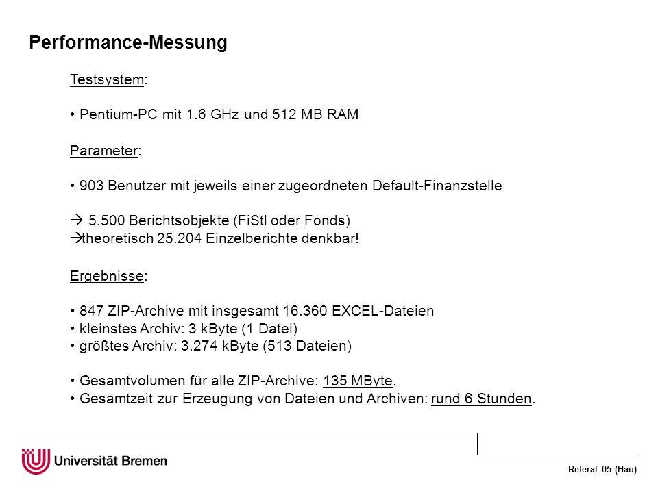 Referat 05 (Hau) Performance-Messung Testsystem: Pentium-PC mit 1.6 GHz und 512 MB RAM Parameter: 903 Benutzer mit jeweils einer zugeordneten Default-Finanzstelle 5.500 Berichtsobjekte (FiStl oder Fonds) theoretisch 25.204 Einzelberichte denkbar.