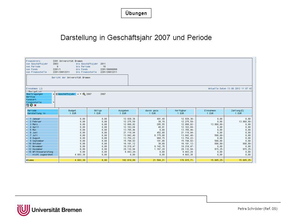 Übungen Petra Schröder (Ref. 05) Darstellung in Geschäftsjahr 2007 und Periode