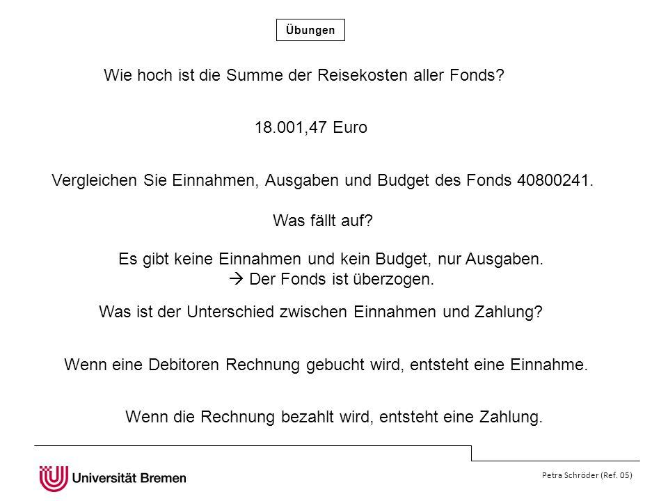 Übungen Petra Schröder (Ref.05) Wie hoch ist die Summe der Reisekosten aller Fonds.