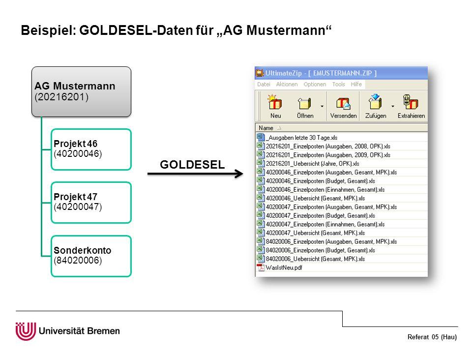 Referat 05 (Hau) Beispiel: GOLDESEL-Daten für AG Mustermann AG Mustermann (20216201) Projekt 46 (40200046) Projekt 47 (40200047) Sonderkonto (84020006) GOLDESEL