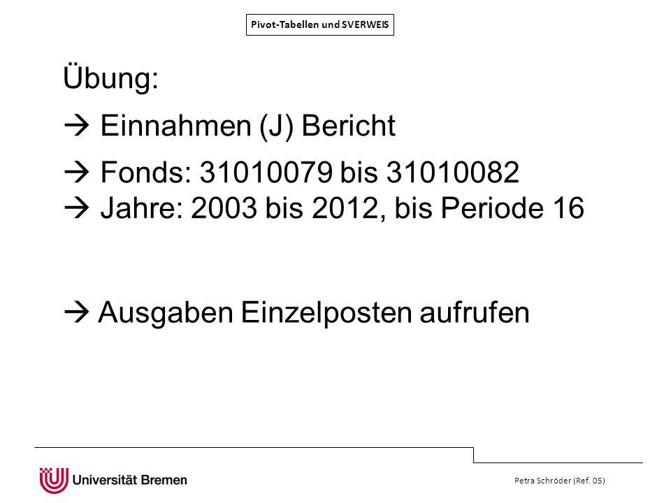 Pivot-Tabellen und SVERWEIS Petra Schröder (Ref. 05) Übung: Einnahmen (J) Bericht Fonds: 31010079 bis 31010082 Jahre: 2003 bis 2012, bis Periode 16 Au