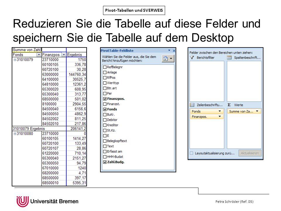Pivot-Tabellen und SVERWEIS Petra Schröder (Ref. 05) Reduzieren Sie die Tabelle auf diese Felder und speichern Sie die Tabelle auf dem Desktop