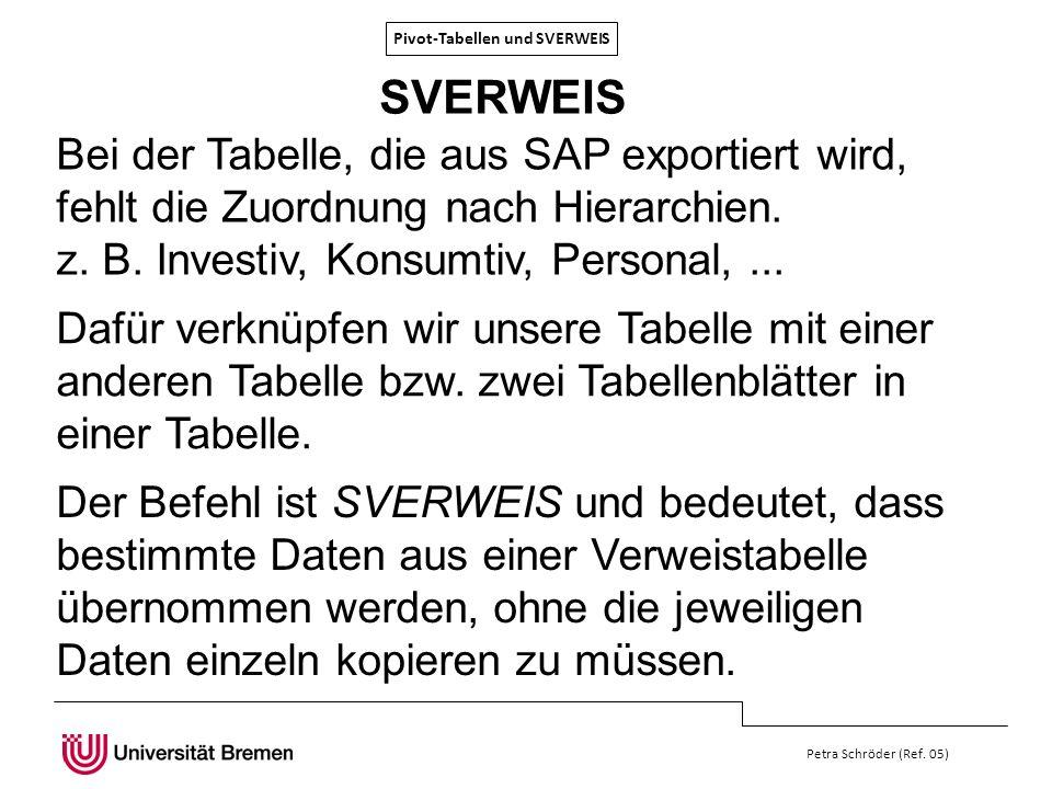 Pivot-Tabellen und SVERWEIS Petra Schröder (Ref. 05) SVERWEIS Der Befehl ist SVERWEIS und bedeutet, dass bestimmte Daten aus einer Verweistabelle über