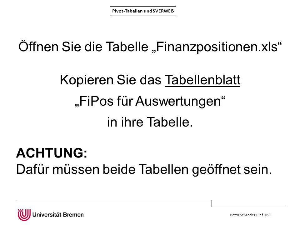 Pivot-Tabellen und SVERWEIS Petra Schröder (Ref. 05) Öffnen Sie die Tabelle Finanzpositionen.xls Kopieren Sie das Tabellenblatt FiPos für Auswertungen
