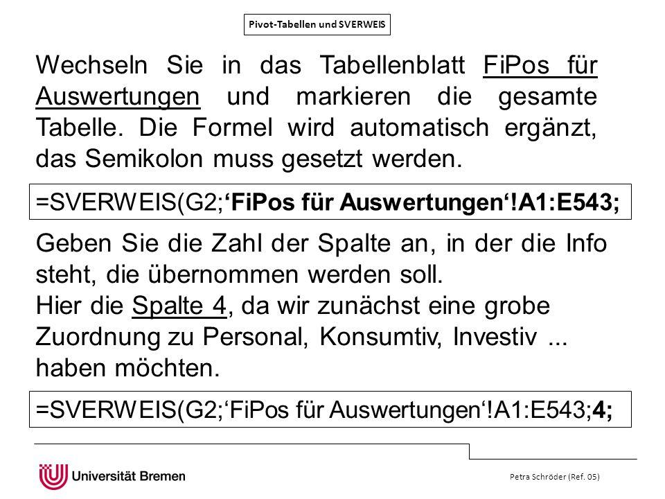 Pivot-Tabellen und SVERWEIS Petra Schröder (Ref. 05) Wechseln Sie in das Tabellenblatt FiPos für Auswertungen und markieren die gesamte Tabelle. Die F