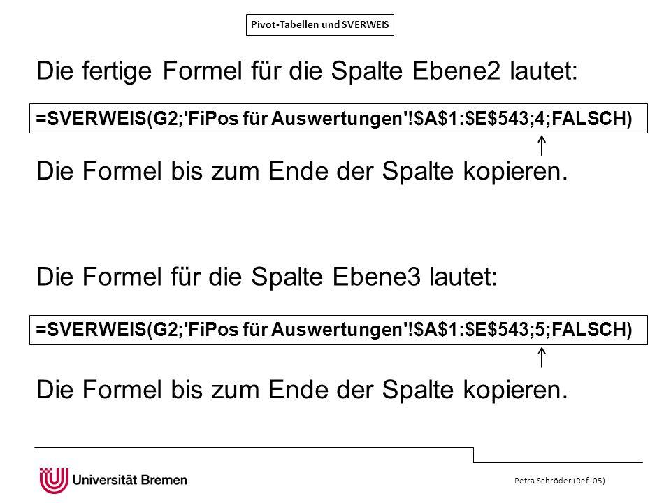 Pivot-Tabellen und SVERWEIS Petra Schröder (Ref. 05) =SVERWEIS(G2;'FiPos für Auswertungen'!$A$1:$E$543;4;FALSCH) Die fertige Formel für die Spalte Ebe