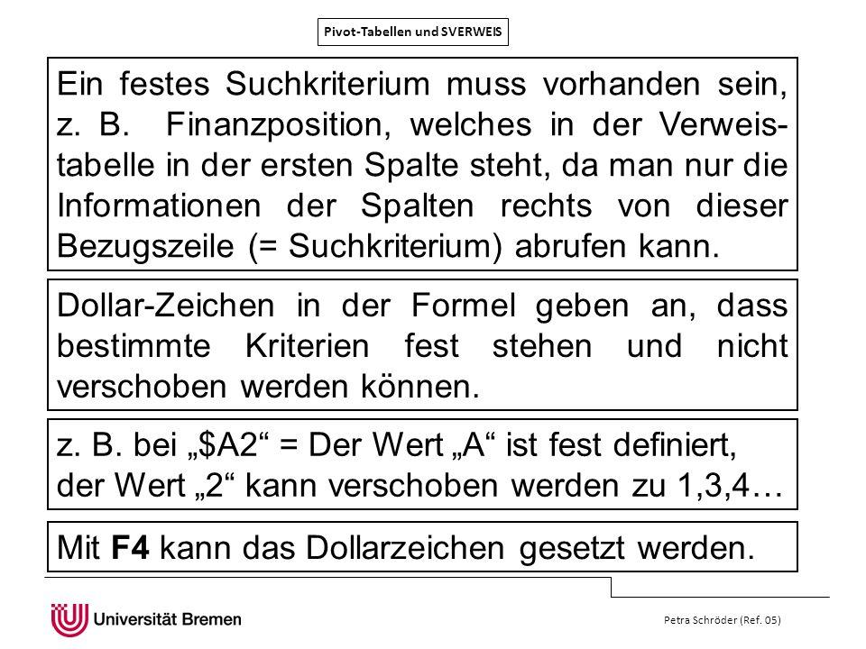 Pivot-Tabellen und SVERWEIS Petra Schröder (Ref. 05) Ein festes Suchkriterium muss vorhanden sein, z. B. Finanzposition, welches in der Verweis- tabel