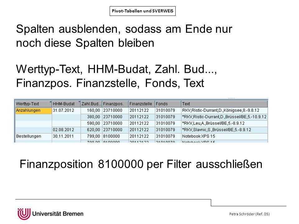 Pivot-Tabellen und SVERWEIS Petra Schröder (Ref. 05) Spalten ausblenden, sodass am Ende nur noch diese Spalten bleiben Finanzposition 8100000 per Filt