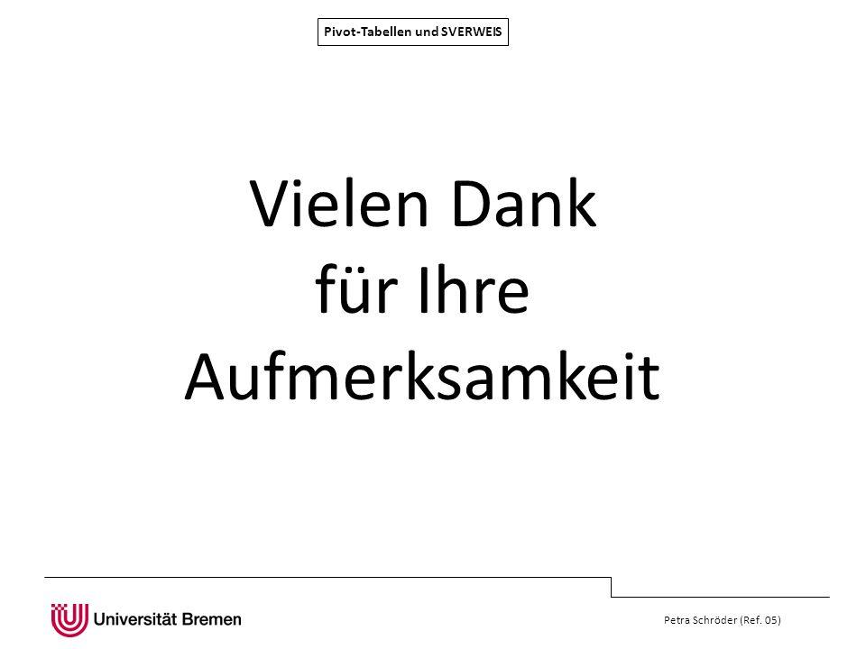 Petra Schröder (Ref. 05) Vielen Dank für Ihre Aufmerksamkeit Pivot-Tabellen und SVERWEIS
