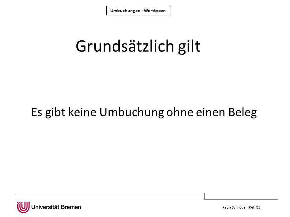 Petra Schröder (Ref. 05) Grundsätzlich gilt Es gibt keine Umbuchung ohne einen Beleg Umbuchungen - Werttypen