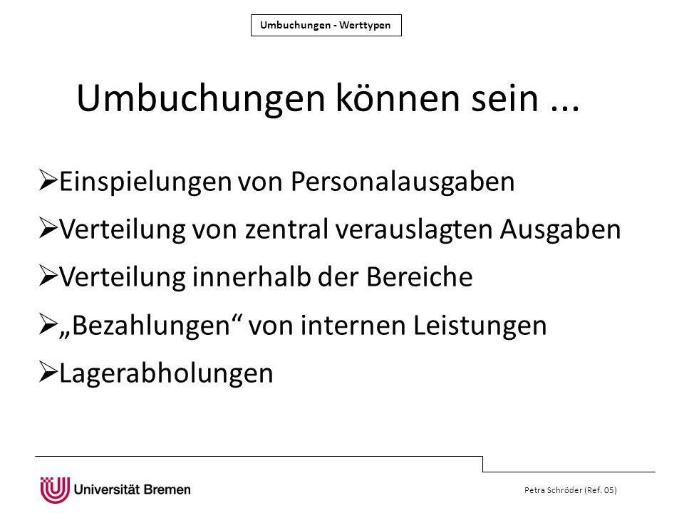 Petra Schröder (Ref. 05) Einspielungen von Personalausgaben Verteilung von zentral verauslagten Ausgaben Verteilung innerhalb der Bereiche Bezahlungen