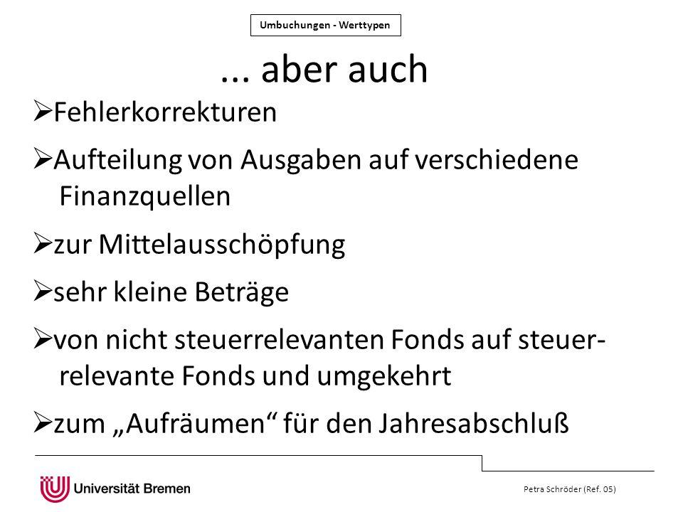 Petra Schröder (Ref. 05)... aber auch Fehlerkorrekturen Aufteilung von Ausgaben auf verschiedene Finanzquellen zur Mittelausschöpfung sehr kleine Betr